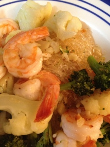 Shrimp, Veggies and Rice Noodles